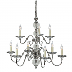 Pendant Light - Polished nickel plate & clear crystal (k9) glass detail
