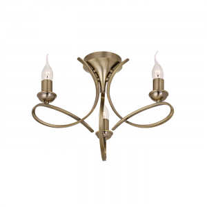 Semi flush Light - Brushed brass effect plate
