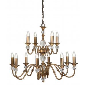 Pendant Light - Antique brass finish & clear crystal (k9) glass detail