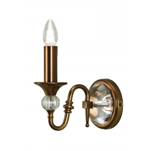 Wall Light - Antique brass finish & clear crystal (k9) glass detail