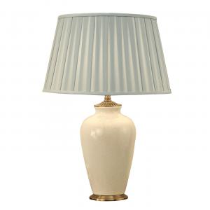 Table Light - Ivory crackle glaze & brass effect plate