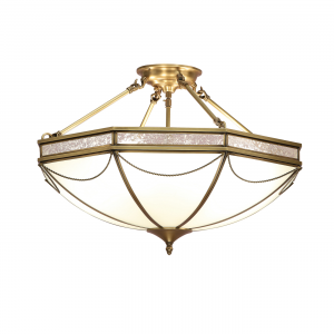 Semi flush Light - Antique brass finish & frosted glass