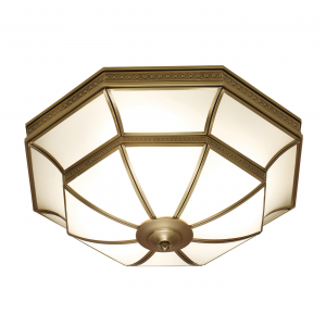 Flush Light - Antique brass finish & frosted glass