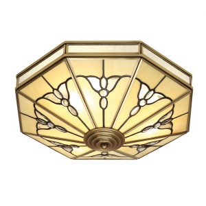 Flush Light - Tiffany style glass & antique brass finish