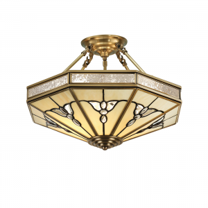 Semi flush Light - Tiffany style glass & antique brass finish