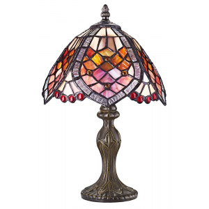 Handmade Red Beaded Stained Glass Tiffany Table Lamp