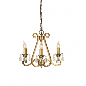 Pendant Light - Antique brass finish & lead crystal beads