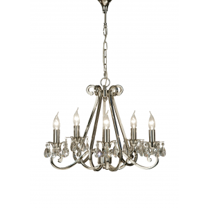 Pendant Light - Polished nickel plate & lead crystal beads
