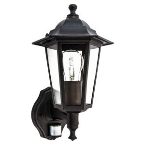 Traditional Sensor Controlled Outdoor Lantern Wall Light Fitting in Matt Black