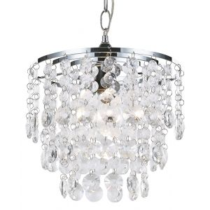 Designer Non Electric Pendant Shade with Tiers of Clear Acrylic Discs and Beads