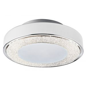 Modern 18W LED Flush 30cm Ceiling Light in Chrome with Crystal Glass Decoration