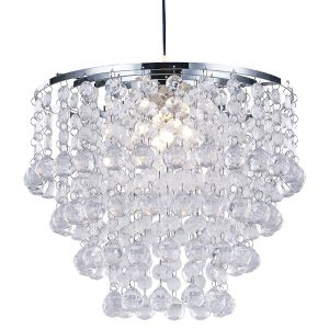 Modern and Stylish Pendant Shade with Tiers of Clear Acrylic Spheres and Beads