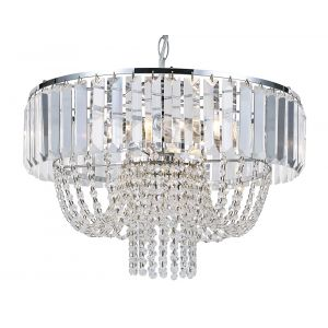 Clear Crystal Glass Chandelier Ceiling Light with Hanging Pendalogues and Beads