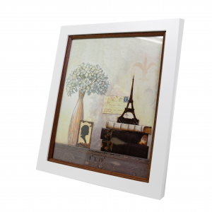 """White and Brown Wood-effect Photo Frame for Table or Wall 