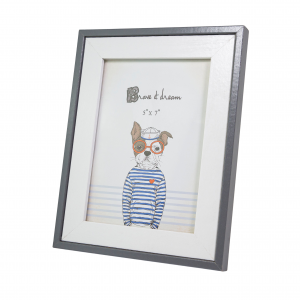 """White and Grey Glossy Photo Frame for Table or Wall 