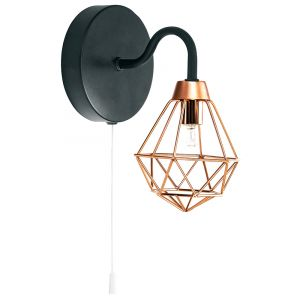 Industrial Matt Black Wall Light with Copper Plated Caged Shade and Pull Switch