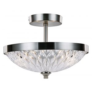 Modern Semi Flush Ceiling Light in Satin Nickel with Ripple Effect Glass Shade