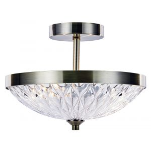 Modern Semi Flush Ceiling Light in Antique Brass with Ripple Effect Glass Shade