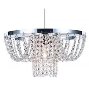 Modern Non Electric Pendant Shade with Strings of Clear Crystal Glass Beads