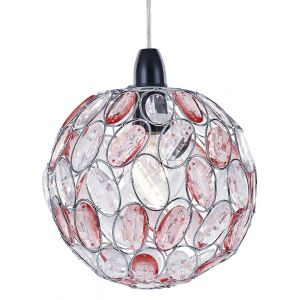 Modern Round Ceiling Pendant Light Shade with Sparkling Clear and Pink Beads