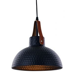 Contemporary Matt Black Pendant Ceiling Light Fitting with Brown Leather Strap