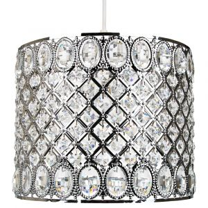 Traditional and Ornate Pendant Light Shade with Round and Oval Acrylic Beads