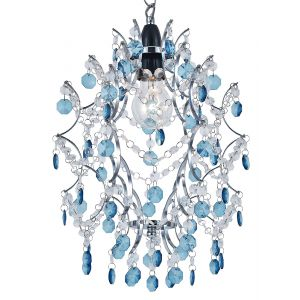 Modern and Unique Pendant Ceiling Shade with Chrome Frame and Clear/Teal Beads