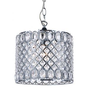 Traditional and Ornate Pendant Shade with Oval and Round Clear Acrylic Beads