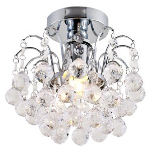 Modern Waterfall Effect Chrome Plated Ceiling Light with Clear Acrylic Spheres