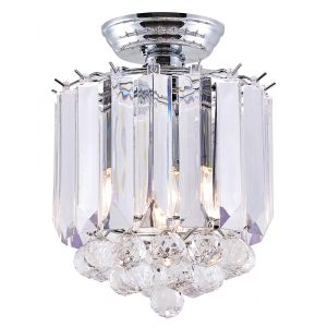 Traditional Semi Flush Chrome Ceiling Light with Clear Acrylic Spheres and Rods
