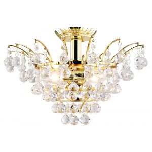 Traditional Large Gold Plated Ceiling Light with Clear Acrylic Spheres and Beads
