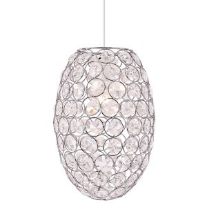 Modern and Unique Oval Shaped Chrome Plated Pendant Shade with Acrylic Beads