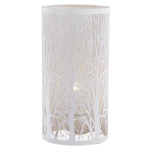 Unique and Beautiful Matt White Metal Forest Design Table Lamp with Cable Switch