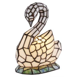 Handmade White Stained Glass Elegant Swan Tiffany Lamp with Blue Water Base