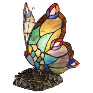 Beautiful Handmade Multi-Coloured Glass Butterfly Tiffany Lamp with Bronze Base