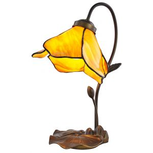 Hand Crafted Amber Glass Tiffany Lamp with Uniquely Designed Bronze Resin Base