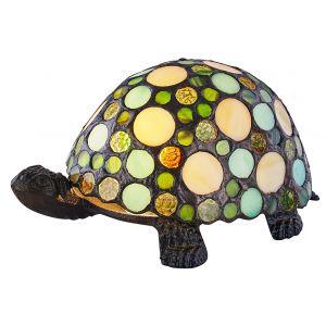 Handmade Green and Amber Pebble Glass Tortoise Tiffany Lamp with Bronze Base