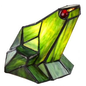 Uniquely Handmade Green Stained Glass Sitting Frog Switched Tiffany Table Lamp