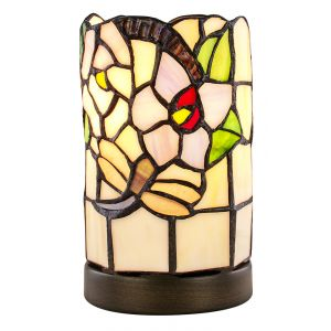 Contemporary Pink Rose and Green Leaf Tiffany Lamp with 4-Stage Touch Dimmer