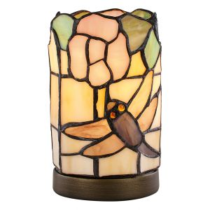 Modern Pink Rose and Dragonfly Tiffany Table Lamp with Touch Dimmable Base