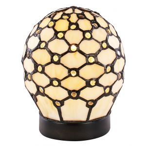 Handmade Clear Beaded and White Oval Tiffany Table Lamp with Touch Dimmable Base