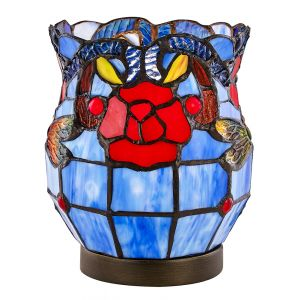 Red Rose Blue Stained Glass Tiffany Table Lamp with Touch Dimmable Bronze Base
