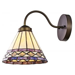 Handmade Purple and Amber Stained Glass Uplighter/Downlighter Tiffany Wall Lamp