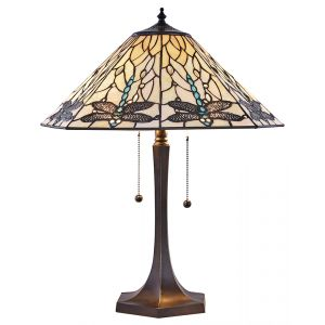 Blue Dragonfly and White Stained Glass Tiffany Table Lamp with Pull Switches