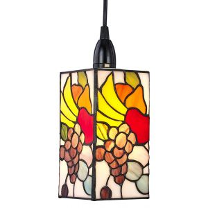Designer Fruit Themed Multi-Colour Tiffany Easy Fit Rectangular Pendant Shade