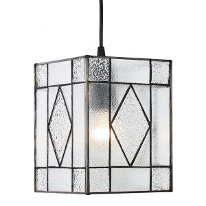 Contemporary Clear Glass Tiffany Easy Fit Pendant Light Shade with Diamond Decor