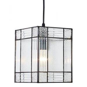 Clear Glass Tiffany Easy Fit Pendant Shade with Square and Rectangular Panels