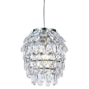 Modern and Unusual Clear Acrylic Pineapple Pendant Light Shade with Chrome Frame