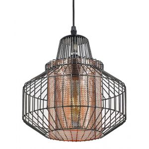 Industrial Polished Black Nickel Pendant Light Fitting with Copper Mesh Shade