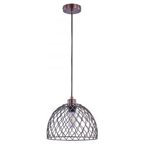 Antique Copper Pendant Ceiling Light with Black Cable and Cage Designed Shade